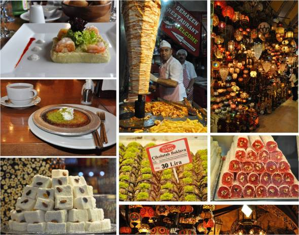 Istanbul, baklava, Doner kebab, Turkish Delight, Kunafe, Grand Bazaar, lanterns